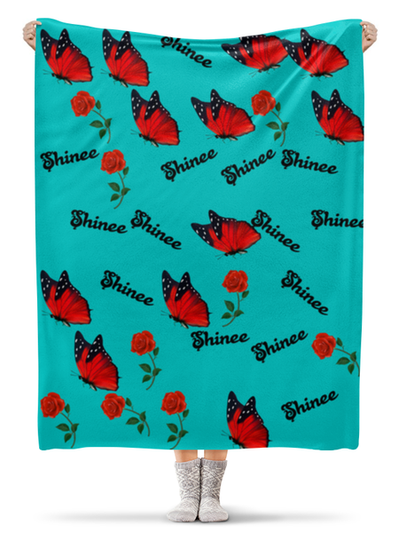 Плед Shinee бабочка и красная роза